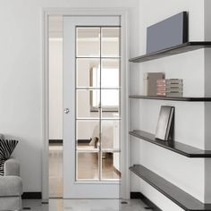Single Pocket Decima White sliding door system in three size widths with Clear Glass incorporating Bevelled Glass with Chrome Camings. #whitepocketdoor #whitedoorwithglass #internalpocketdoor