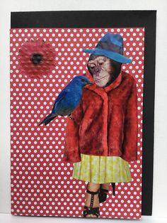 collage art card / collage kunst  kaart handmade by Linda van Deursen Guusje