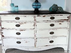 Silver Pennies: Isla Dresser - finished using MMS Milk Paint Ironstone.