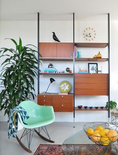 Via The Design Chaser | Midcentury | George Nelson Clock | Eames: Rocker, Bird and Side Table