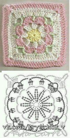 Crochet Granny Square Patterns Crochet Granny Square Rose S - Salvabrani Crochet Blocks, Granny Square Crochet Pattern, Crochet Flower Patterns, Crochet Diagram, Crochet Chart, Crochet Squares, Crochet Blanket Patterns, Crochet Flowers, Knitting Patterns