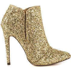 Michael Antonio Women's Leighty - Gold Glitter PU ($60) ❤ liked on Polyvore featuring shoes, gold, gold glitter shoes, tall shoes, polyurethane shoes, pointed toe stilettos and synthetic shoes