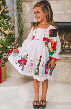 Find the perfect girls' Christmas dress for all your family's special occasions this holiday season! Shop Eleanor Rose Nutcracker collection on November - GotoPinter Little Girl Christmas Dresses, Toddler Christmas Outfit, Little Girl Dresses, Holiday Dresses, Holiday Outfits, Girls Dresses, Christmas Dresses For Toddlers, Simple Red Dress, White Long Sleeve Dress