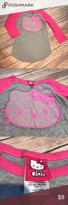 💜Large Hello Kitty tee Pink and gray hello kitty. Hello Kitty Shirts & Tops Tees - Long Sleeve