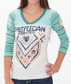American Fighter North Dakota T-Shirt - Women's T-Shirts in Cream Dark Mint Mnt Green Winter Outfits, Cool Outfits, Fashion Outfits, American Fighter Shirts, Female Fighter, Retro Girls, Cute Shirts, Women's Shirts, Types Of Fashion Styles