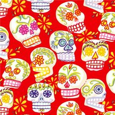 red Alexander Henry fabric decorated skulls
