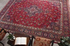 "Persian Floral Turkish Rug Living Room Decor Vintage Home Decor Rug, 9'5"" x 12'8"", Code: 071772 large rug"