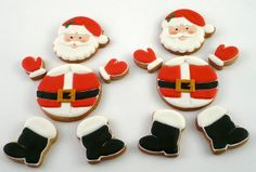 Decorated Santa Cookies for Christmas