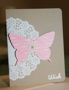 Handmade Birthday card Wish butterfly pink by Glued2Paper on Etsy, $3.00