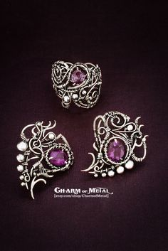 Ainulindale Sterling silver 925 violet faceted от CharmofMetal
