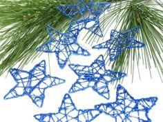 Tolle Dekoration: 24 Glitzernde Sterne aus Draht in Blau, ca. 7 cm groß