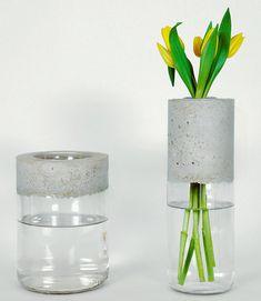 Créez un vase en 1 heure - DIY Projekte Cement Art, Concrete Crafts, Concrete Art, Concrete Design, Vase Design, Concrete Furniture, Wooden Vase, Vase Shapes, Vases Decor