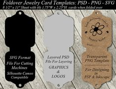 Jewelry Card Template Available In SVG Cutting File - Layered PSD - Transparent PNG - Fold Over Necklace Holder Cards - Instant Download