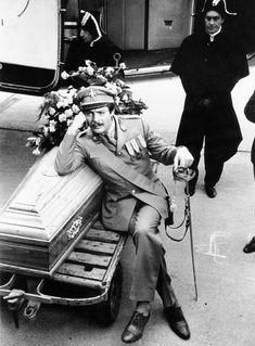 """Marcello Mastroianni on the set of """"Casanova directed by Mario Monicelli … Fiumicino Airport, Rome, Italy … 1965 … by Tazio Secchiaroli… Marcello Mastroianni, Fellini Films, Anita Ekberg, Tazo, Sophia Loren, Press Photo, Arabesque, On Set, The Twenties"""