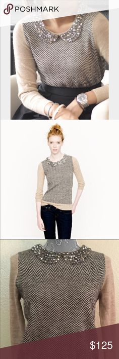 Crystal J. Crew collection Peter Pan sweater Asking price is firm!!!  Like new!  Worn once!  Super rare Crystal embellished sweater from the high end J. crew collection!  NOT FACTORY! No words can truly describe this gorgeous piece. The dazzling hand-beaded collar with real crystal stones takes this sweet sweater from great to glam.  Knit in menswear inspired herringbone pattern with exquisite yarns from Peru and spun in Italy!  Retail $178 - Alpaca/Wool in 12 gauge knit body - 9 gauge knit…