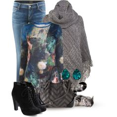 """""""Cable Knit Poncho"""" by katc on Polyvore"""