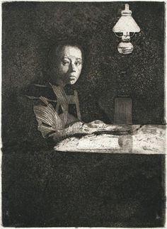 Käthe Kollwitz, self portrait, etching