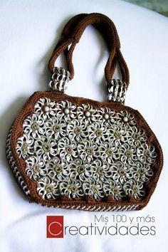 "How to crochet a handbag with soda pop tabs: ""Queta Purse"" part 3 (+play..."