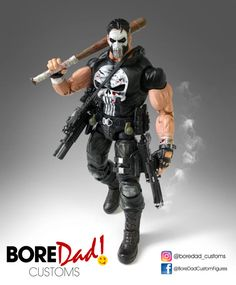 Punisher custom action figure from the Marvel Legends series using ML Frankenstein as the base, created by BoreDad Customs. Marvel Comic Universe, Marvel Art, Marvel Comics, Story Characters, Marvel Characters, Xman Marvel, Iron Man Cosplay, Dungeons And Dragons Miniatures, Comic Manga