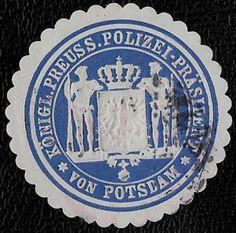 + 1871 Police in Potsdam Brandenburg German States Embossed Envelope Seal Label