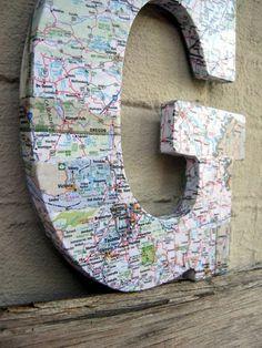 Maps Art - Personalized Monogram Map Letter - anniversary gift - wedding gift - traveler decor