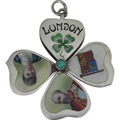 VERY RARE Opening LONDON Clover Enamel Charm George VII