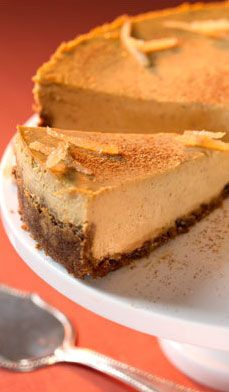 Pumpkin Cheesecake with Gingersnap Crust - Enjoy a festive finish to your holiday with this creamy take on pumpkin pie :)