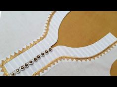 Latest Button and Doru V Neck Design Cutting and Stitching - YouTube Churidhar Neck Designs, Neck Designs For Suits, Sleeves Designs For Dresses, Neckline Designs, Fancy Blouse Designs, Blouse Neck Designs, Plain Kurti Designs, Kurta Designs Women, Kurti Embroidery Design