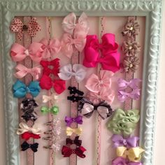 Girls hair bow holder made from old picture frame and ribbon Jessica Rempe