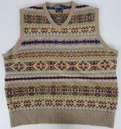 Polo Ralph Lauren Men XL Fair Isle Sweater Vest Hand Knit Wool Lambs Wool V-Neck #PoloRalphLauren #Vest