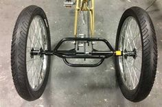 "Motorized Trike Conversion Kit Convert your bike to a 3 wheel trike. Best used on a men's 26"" cruiser. Bolt the motor up like normal then add the trike rear end. Hub conversion kit is a coaster brake so you can pedal backwards to stop. Adding a front brake is recommended.  $399.99"