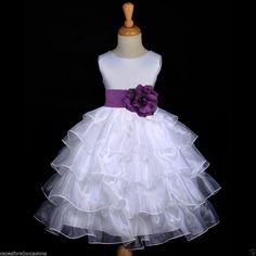 FLOWER GIRL DRESS TIERED ORGANZA WHITE PLUM PURPLE 2/2T 3/3T 4/4T 5/5T 6/6X 8 10