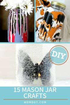 15 Mason Jar Crafts you can do today! You will love these mason jar craft tutorials, from nighlights to holiday displays Mason Jar Crafts, Mason Jar Diy, Craft Tutorials, Diy Projects, Craft Ideas, Food Stamps, Painted Mason Jars, Bottles And Jars, Holidays And Events