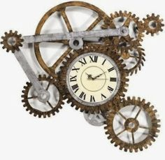 Multi-wood gear clock/Neo Victorian/steampunk décor ideas