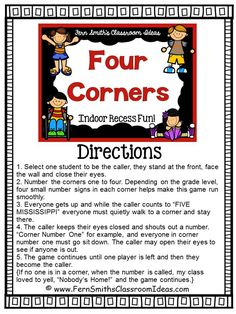Fern Smith's Classroom Ideas Indoor Recess ~ Four Corners Directions FREE Printable at Classroom Freebies