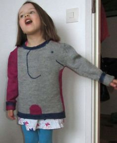 Free Knitting Pattern for Elephant Sweater - The Snuffle Pullover features an elephant motif with a trunk formed by the sweaterarm. Sizes 2, 4, 6, 8 years. Designed by Lorna Miser by Red Heart.Pictured project bylaurau