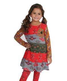 Jelly the Pug Persimmon & Green Geometric Cameron Dress - Toddler & Girls | zulily