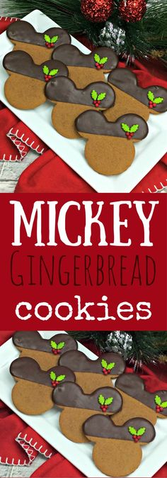 Chocolate Dipped Mickey Gingerbread cookies- Christmas Cookie Recipe for Kids #christmascookies