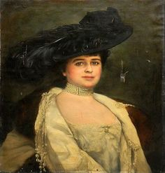 Full figured lady wearing a plumed hat -Adolfo Müller-Ury