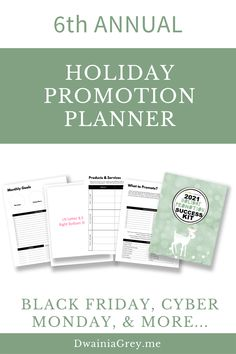 The 2021 Holiday Promotion Success Kit is the ultimate planner to capture holiday sales.6th ANNUAL - REVISED AND UPDATED FOR 2021 WITH NEW PAGES AND MORE HOLIDAY PROMO IDEASUse this 4th Quarter Planner to plan your custom holiday promotions as well as Christmas, Thanksgiving, Black Friday, Cyber Monday, Giving Tuesday, and more. Buy Now! #cybermonday Marketing And Advertising, Social Media Marketing, Social Media Cheat Sheet, Seo News, Budget Template, Holiday Sales, Cyber Monday, Black Friday, Tuesday