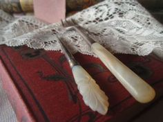 Antique 19c Mother of Pearl Handled Fork and Sewing Tool