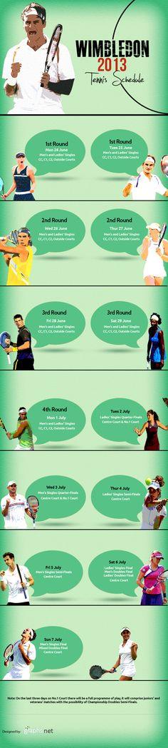 Wimbledon 2013 Tennis Schedule #Wimbledon #2013 #Tennis #Schedule #Sports #Infographics