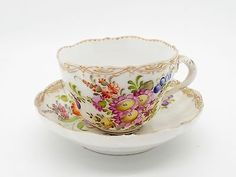 Antique Dresden Hand Painted Porcelain Cup & Saucer Flowers & Gilding ~A
