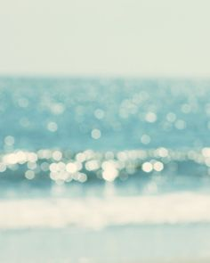 abstract ocean photography twinkle blue sea water aqua turquoise teal bokeh blur surreal beach photography shabby chic beach cottage decor. $19.00, via Etsy.