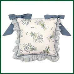 Stuhlkissen mit Rüsche + Bänder Kissenhülle LAVENDEL Wohntextilien Kissen und Kissenhüllen