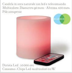 Loto,  acquista qui www.blueeco.it candela di cera a led, la vedi rosa ma puoi scegliere con il telecomando il colore della luce  tra un gamma di 12