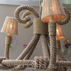 Es fácil darle un estilo rústico a tus espacios con detalles que hacen diferente algo común. Esta lampara es un excelente ejemplo. #Ideas #Conceptual #Luz #Decoración
