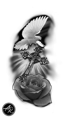 Find your best gift ideas for your family and friends! Dove Tattoos, Skull Tattoos, Body Art Tattoos, Sleeve Tattoos, Dove Tattoo Design, Cross Tattoo Designs, Kreutz Tattoo, Religion Tattoos, Image Jesus