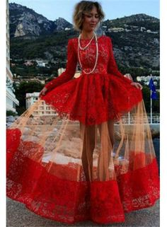 2015 Red Sheer Lace Long Sleeves Bateau Elegant Evening Gowns - www.suzhoudress.com