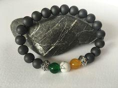 Irish flag colors gemstone bracelet.  https://www.etsy.com/listing/270148987/sale-10-off-mens-irish-flag-bracelet #etsymntt #stpatricksday #menswear #stpatricks